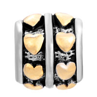 European Beads - 22K ROW HEART LOVE WHEEL SPACER TWO TONE PLATED BEADS CHARMS BRACELETS alternate image 2.