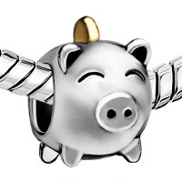 Charms Beads - SILVER PLATED PIG MONEY BOX EUROPEAN BEAD CHARM BRACELETS FOR WOMEN alternate image 1.