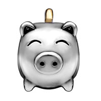 DPC1568: SILVER PLATED PIG MONEY BOX EUROPEAN BEAD CHARM BRACELETS FOR WOMEN alternate image 2.