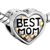 DPC1619: 22K MOTHER JEWELRY HEART BEST MOM LOVE BRAND TWO TONE PLATED BEADS CHARMS BRACELETS alternate image 1.