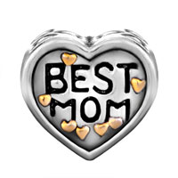 DPC1619: 22K MOTHER JEWELRY HEART BEST MOM LOVE BRAND TWO TONE PLATED BEADS CHARMS BRACELETS alternate image 2.