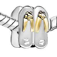DPC1627: SILVER PLATED STYLISH FLIP FLOP EUROPEAN BEAD CHARMS BRACELETS alternate image 1.