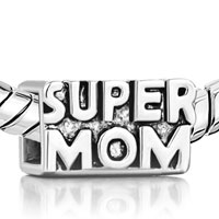 Charms Beads - SILVER MOTHER DAUGHTER CUBE SUPER MOM EUROPEAN BEAD CHARM BRACELETS alternate image 1.