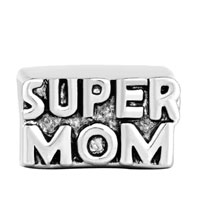 Charms Beads - SILVER MOTHER DAUGHTER CUBE SUPER MOM EUROPEAN BEAD CHARM BRACELETS alternate image 2.