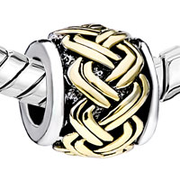 European Beads - GOLDEN CELTIC WEAVE TWO TONE PLATED BEADS CHARMS BRACELETS alternate image 1.