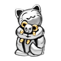 Charms Beads - SMILING CAT HUGGING MOUSE TWO TONE PLATED BEADS CHARMS BRACELETS FIT ALL BRANDS alternate image 2.