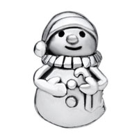 European Beads - HAPPY SNOWMAN CHRISTMAS GIFT BRAND SILVER PLATED BEADS CHARMS BRACELETS alternate image 1.