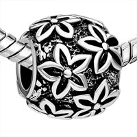 European Beads - ROUND SHAPED POINSETTIA SILVER PLATED BEADS CHARMS BRACELETS alternate image 2.