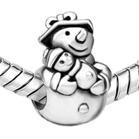 European Beads - UNIQUE SNOWMAN SILVER PLATED BEADS CHARMS BRACELETS alternate image 2.
