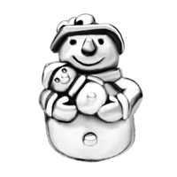 European Beads - UNIQUE SNOWMAN SILVER PLATED BEADS CHARMS BRACELETS alternate image 1.