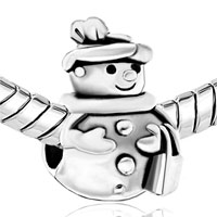 Charms Beads - SILVER PLATED S SNOWMAN DRESSED UP EUROPEAN BEAD CHARMS BRACELETS alternate image 1.