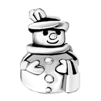 Charms Beads - SILVER PLATED S SNOWMAN DRESSED UP BEADS CHARMS BRACELETS FIT ALL BRANDS alternate image 2.