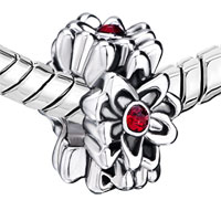 European Beads - GARNET FLOWER FIT ALL BRANDS SILVER PLATED BEADS CHARMS BRACELETS alternate image 1.