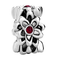 European Beads - GARNET FLOWER FIT ALL BRANDS SILVER PLATED BEADS CHARMS BRACELETS alternate image 2.