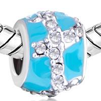 Charms Beads - SILVER PLATED BLUE CRYSTAL EUROPEAN INFANT CHARM BEAD CHARM BRACELET alternate image 1.