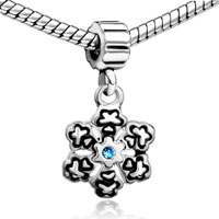 Charms Beads - SNOWFLAKE WITH AQUAMARINE BLUE MARCH BIRTHS CHARM SPACERS DANGLE alternate image 1.