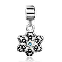 Charms Beads - SNOWFLAKE WITH AQUAMARINE BLUE MARCH BIRTHS CHARM SPACERS DANGLE alternate image 2.