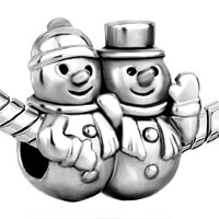 European Beads - SNOWMAN FIT ALL BRANDS SILVER PLATED BEADS CHARMS BRACELETS alternate image 2.