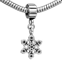 Teens & Kids Jewelry - SILVER PLATED SNOWFLAKE PLATE CHARM BRACELET SPACER DANGLE BRACELET alternate image 1.