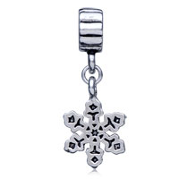 Teens & Kids Jewelry - SILVER PLATED SNOWFLAKE PLATE CHARM BRACELET SPACER DANGLE BRACELET alternate image 2.
