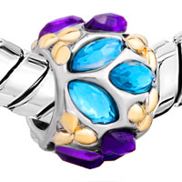 European Beads - BLUE PURPLE FLOWER FIT ALL BRANDS TWO TONE PLATED BEADS CHARMS BRACELETS alternate image 1.