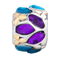 European Beads - BLUE PURPLE FLOWER FIT ALL BRANDS TWO TONE PLATED BEADS CHARMS BRACELETS alternate image 2.
