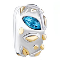 Charms Beads - TIONE BLUE LEAF CRYSTAL SPACER TWO TONE PLATED BEADS CHARMS BRACELETS FIT ALL BRANDS alternate image 2.
