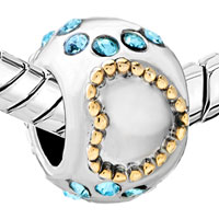 European Beads - 22K AQUAMARINE CRYSTAL TWO TONE PLATED BEADS CHARMS BRACELETS alternate image 1.