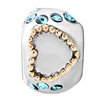 European Beads - 22K AQUAMARINE CRYSTAL TWO TONE PLATED BEADS CHARMS BRACELETS alternate image 2.