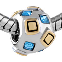 Charms Beads - SILVER MARCH BIRTHSTONE GOLDEN SQUARE EUROPEAN BEAD CHARM BRACELETS alternate image 1.