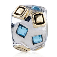 Charms Beads - SILVER MARCH BIRTHSTONE GOLDEN SQUARE EUROPEAN BEAD CHARM BRACELETS alternate image 2.