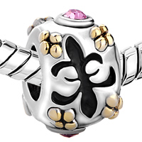 European Beads - PINK CRYSTAL FLEUR DE LIS TWO TONE PLATED BEADS CHARMS BRACELETS alternate image 1.