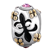 European Beads - PINK CRYSTAL FLEUR DE LIS TWO TONE PLATED BEADS CHARMS BRACELETS alternate image 2.