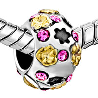 Charms Beads - SILVER PLATED FLOWER CHARM BRACELETS PINK SWAROVSKI ELEMENT CRYSTAL alternate image 1.