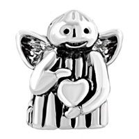 European Beads - ANGEL WITH HEART EURO LOVE SILVER PLATED BEADS CHARMS BRACELETS alternate image 2.