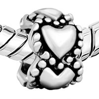 Charms Beads - SILVER PLATED HEART CHARM BRACELET SPACER EUROPEAN BEAD PATTERN alternate image 1.
