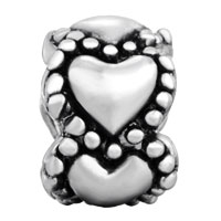 Charms Beads - SILVER PLATED HEART CHARM BRACELET SPACER EUROPEAN BEAD PATTERN alternate image 2.