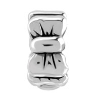 Charms Beads - SILVER BOW BOWKNOT CHARM BRACELET SPACER EUROPEAN INFANT CHARM BEAD alternate image 2.