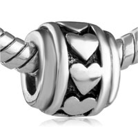 European Beads - HEART CIRCLE SPACER WHEEL SILVER PLATED BEADS CHARMS BRACELETS alternate image 1.