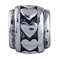 European Beads - HEART CIRCLE SPACER WHEEL SILVER PLATED BEADS CHARMS BRACELETS alternate image 2.