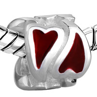 European Beads - DOUBLE RED HEART SHAPE LOVE SILVER PLATED BEADS CHARMS BRACELETS alternate image 1.