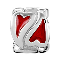 European Beads - DOUBLE RED HEART SHAPE LOVE SILVER PLATED BEADS CHARMS BRACELETS alternate image 2.