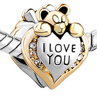 European Beads - HEART SHAPE WITH I LOVE YOU AND BEAR SILVER GOLD PLATED BEADS CHARMS BRACELETS alternate image 1.
