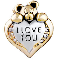 European Beads - HEART SHAPE WITH I LOVE YOU AND BEAR SILVER GOLD PLATED BEADS CHARMS BRACELETS alternate image 2.