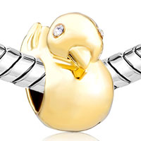 Charms Beads - SILVER PLATED GOLDEN DUCK ANIMAL CHARMS FOR BRACELETS EUROPEAN BEAD alternate image 1.