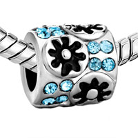 European Beads - FLOWER WITH MARCH CRYSTAL SILVER PLATED BEADS CHARMS BRACELETS alternate image 1.
