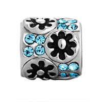 European Beads - FLOWER WITH MARCH CRYSTAL SILVER PLATED BEADS CHARMS BRACELETS alternate image 2.