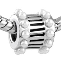 Charms Beads - EUROPEAN BEAD WHITE PEARL CHARM BRACELET CYLINDER CHARM EUROPEAN BEAD alternate image 1.