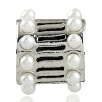 Charms Beads - EUROPEAN BEAD WHITE PEARL CHARM BRACELET CYLINDER CHARM EUROPEAN BEAD alternate image 2.