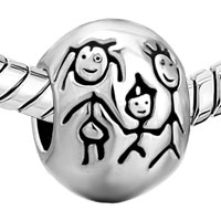 European Beads - BALL SHAPE WITH FAMILY SILVER PLATED BEADS CHARMS BRACELETS alternate image 1.